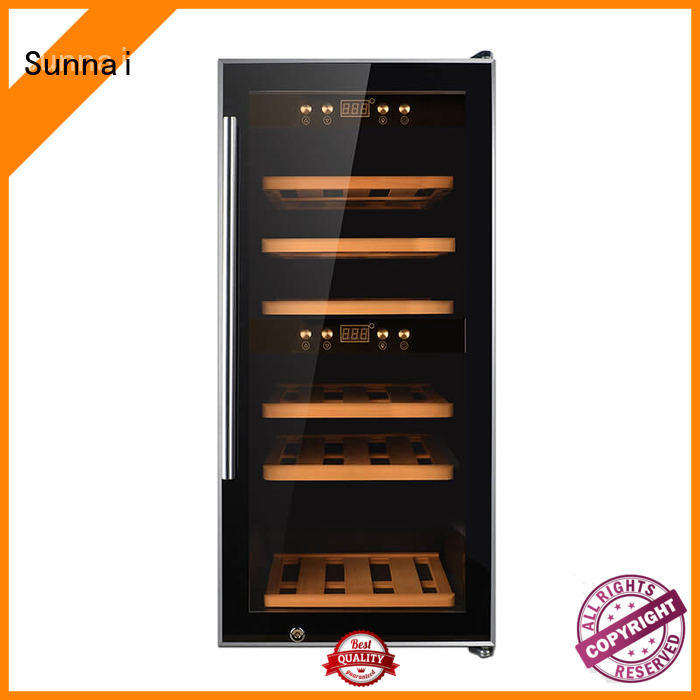 Sunnai panel compressor wine cooler dual zone manufacturer for indoor
