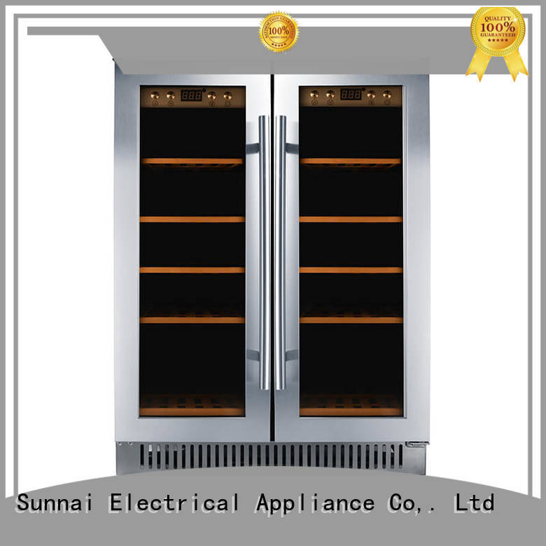 Sunnai refrigerator double doors wine cooler manufacturer for work station