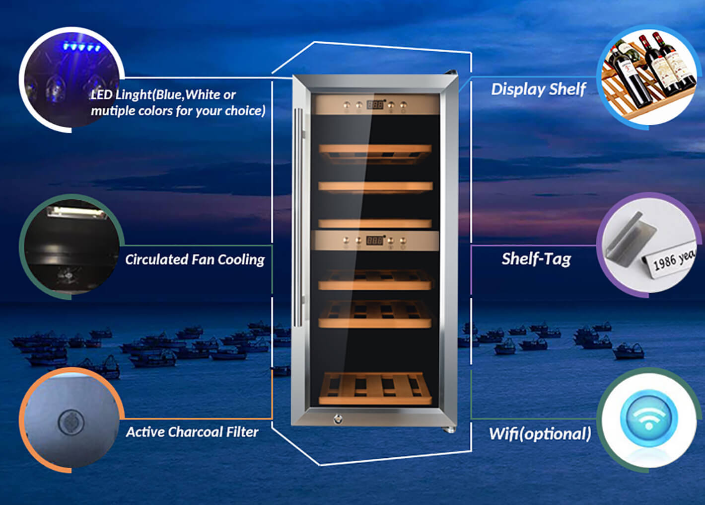 Sunnai fridge single zone wine fridge product for shop