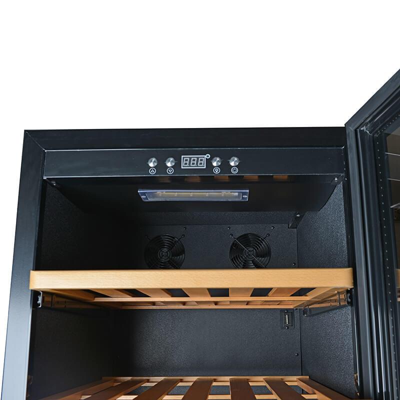 24 Bottles sIngle zone black panel wine refrigerator