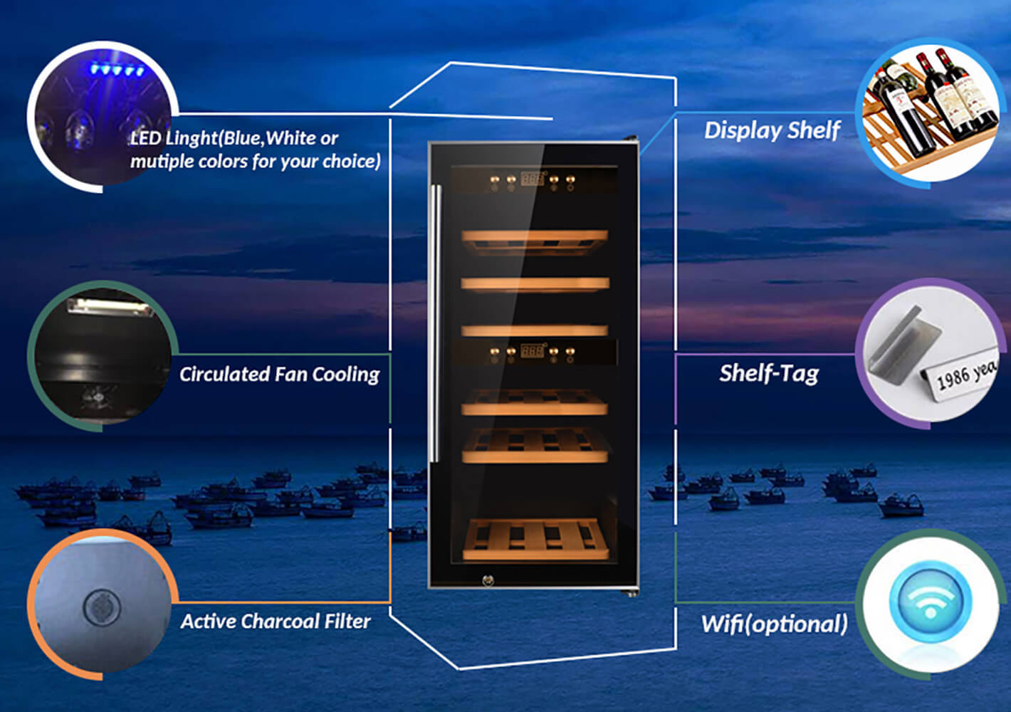 Sunnai online dual zone wine cooler product for home