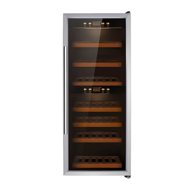 38 Bottles Dual zone with silver panel double door wine refrigerator