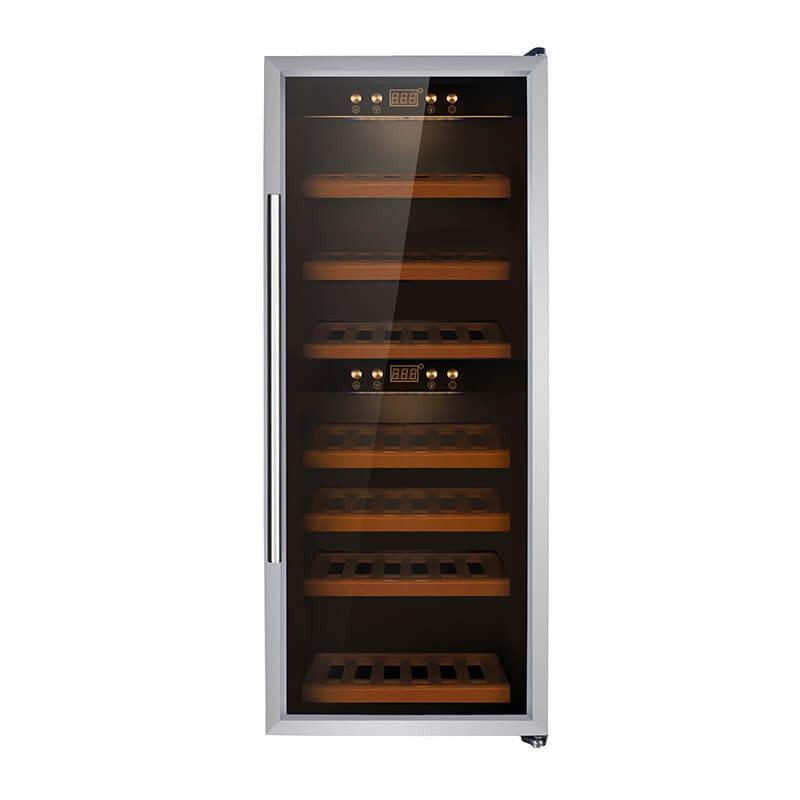 38 Bottles Dual zone with silver panel double door wine refrigerator