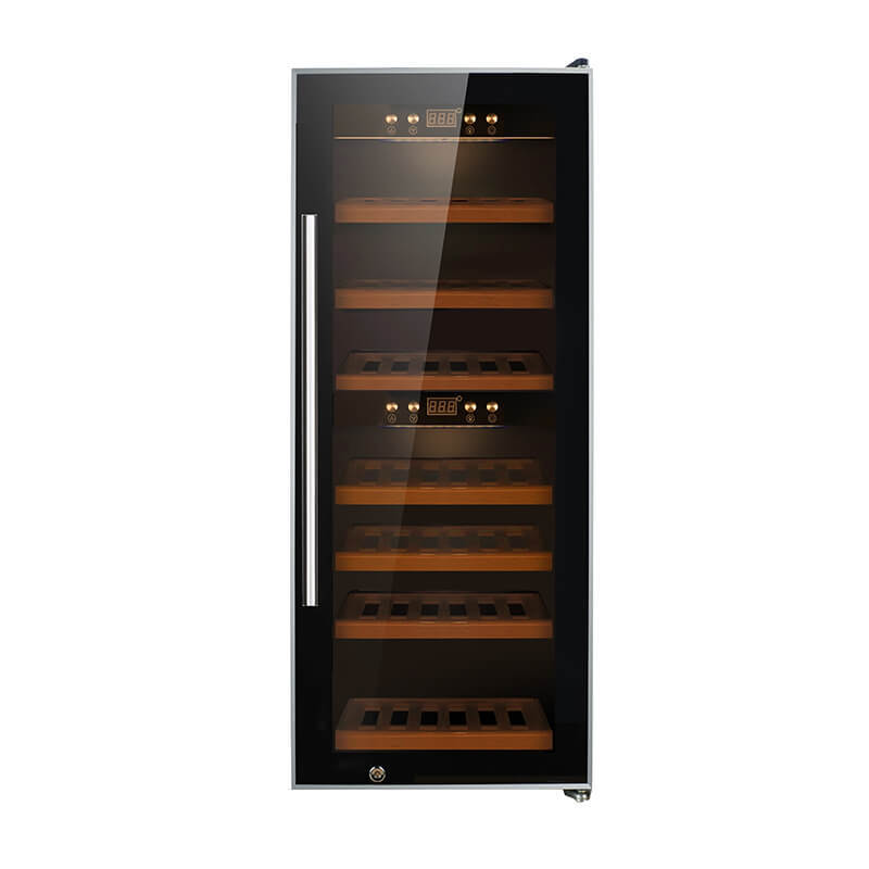 38 Bottles Dual zone with black panel compressor wine refrigerator