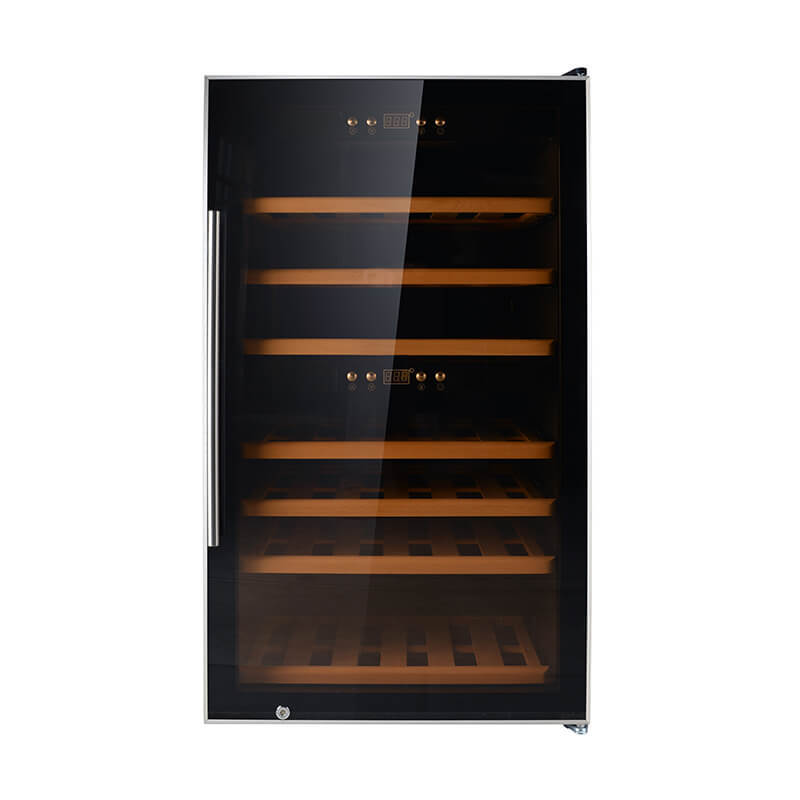 66 Bottles black panel compressor wine refrigerator