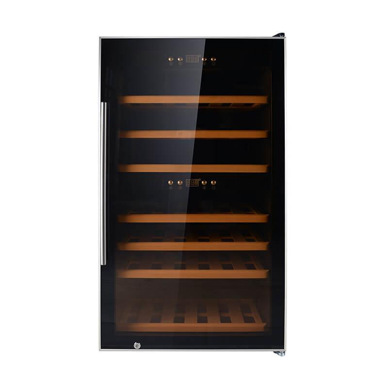 66 Bottles black panel compressor wine refrigerator