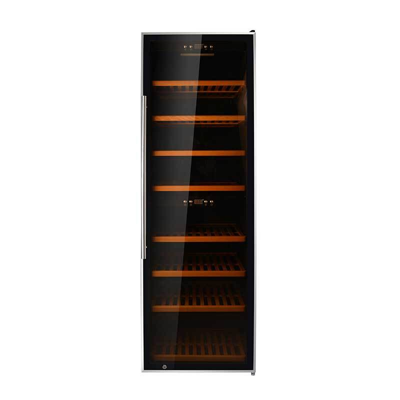 180 Bottles compressor Dual Zone black panel with stainless steel door wine chiller