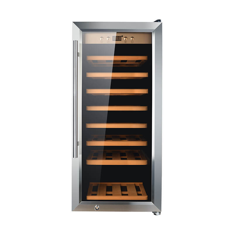 43 Bottles Single zone with silver panel double door wine refrigerator