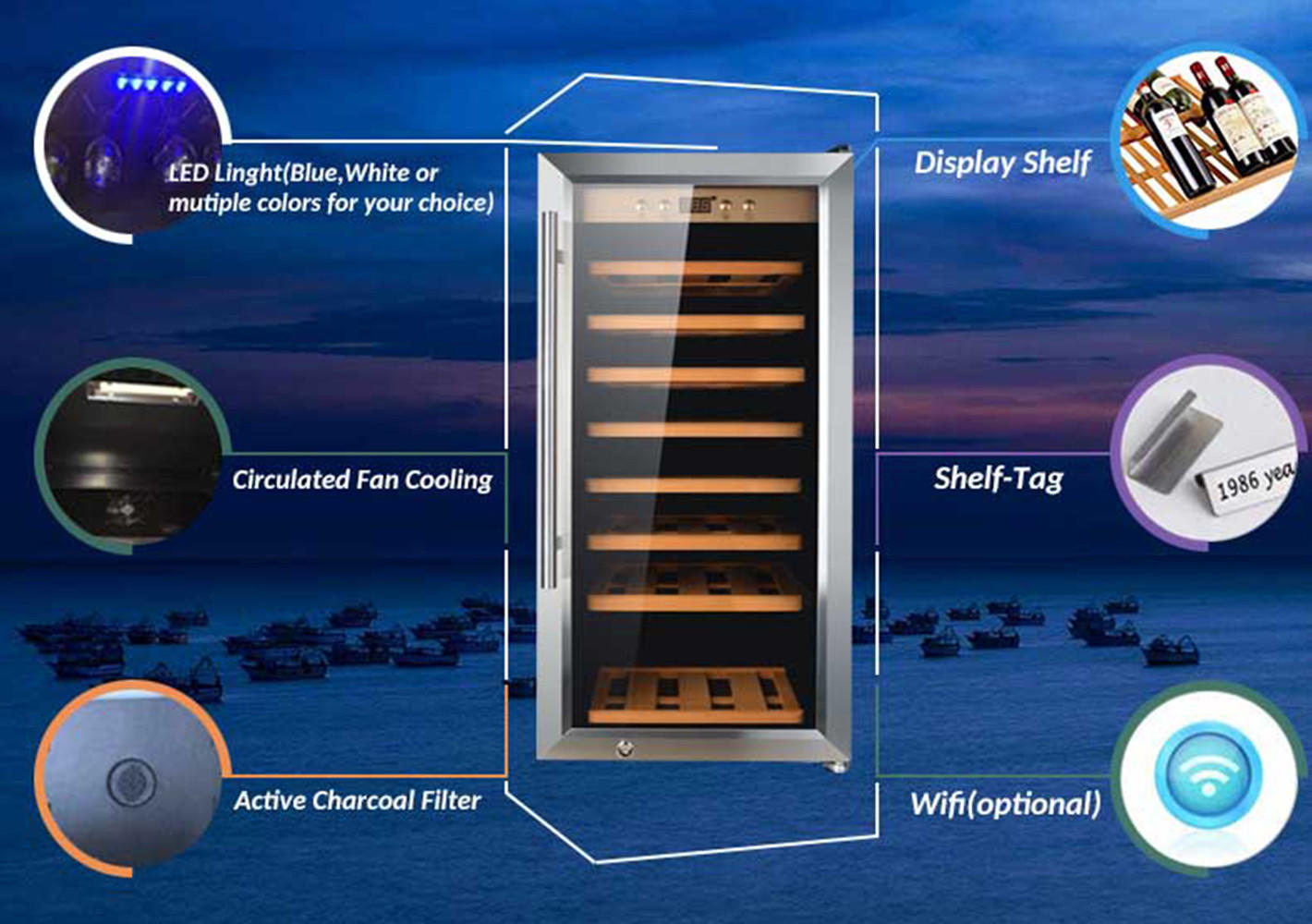 Sunnai chiller freestanding wine cooler supplier for indoor