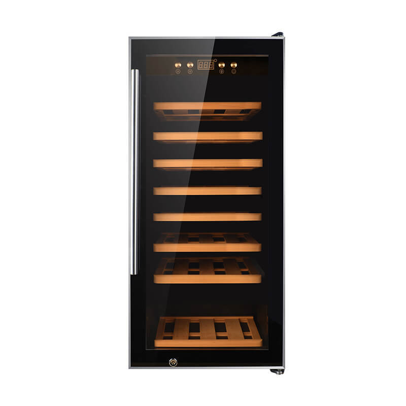 43 Bottles Single zone with black panel double door wine refrigerator