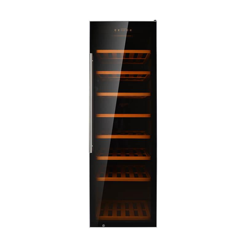 192 Bottles compressor with black panel stainless steel door Single Zone wine cooler