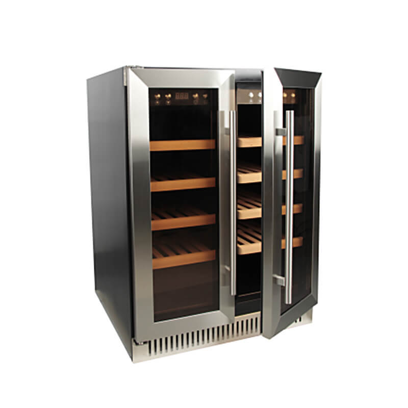 30 Bottles Dual zone with silver panel double door wine refrigerator