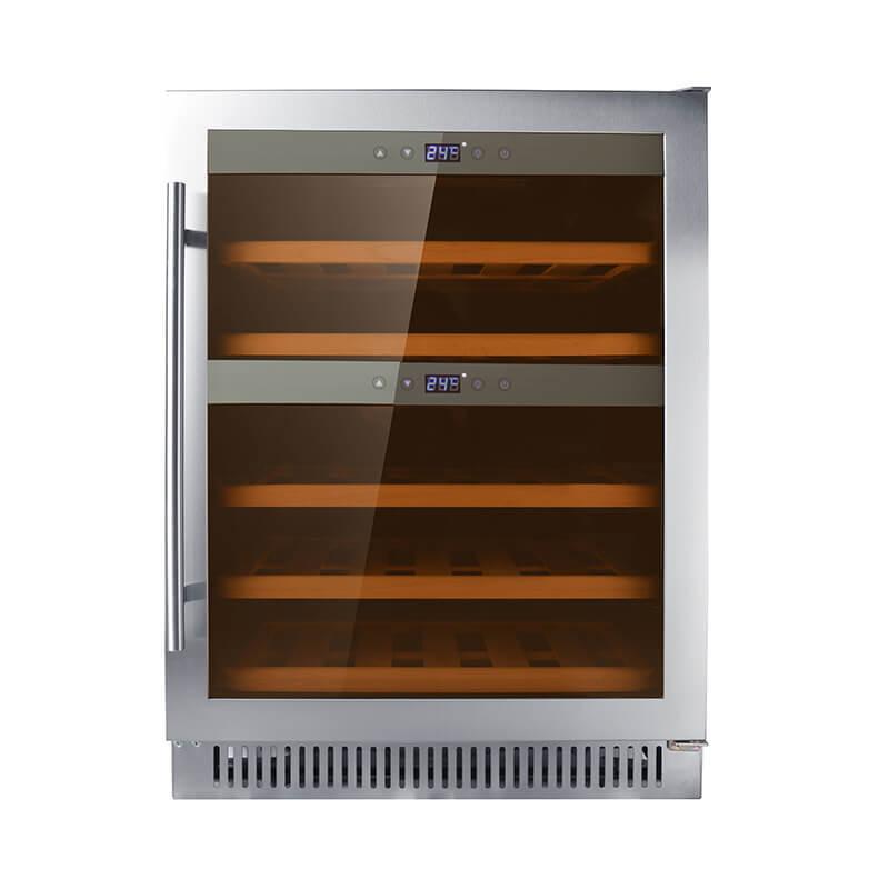 40 Bottles undercounter Dual zone stainless steel door compressor wine fridge