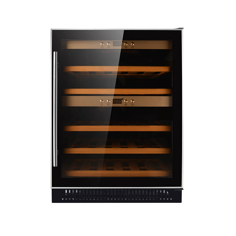 40 Bottles undercounter Dual zone black panel compressor 154L wine fridge