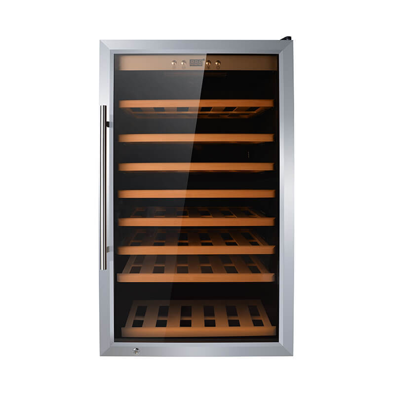 75 Bottles freestanding compressor beech wood wine cooler