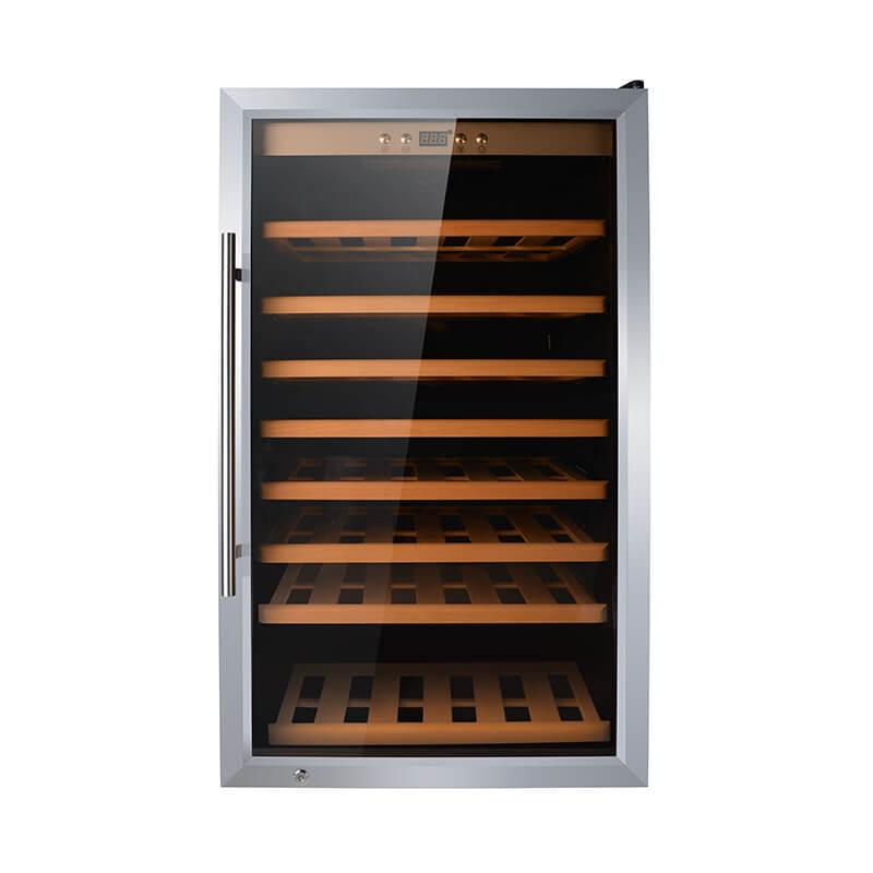 75 Bottles freestanding compressor beech wood wine cooler