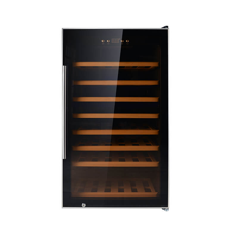 75 Bottles single zone freestanding compressor beech wood wine cooler