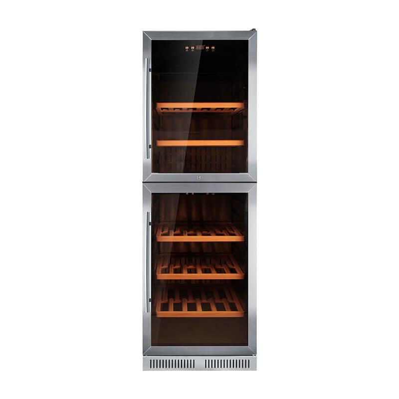 125 Bottles undercounter compressor Double door wine cooler