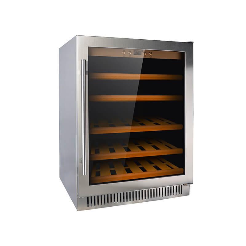 51 Bottles undercounter single zone stainless steel door compressor wine fridge