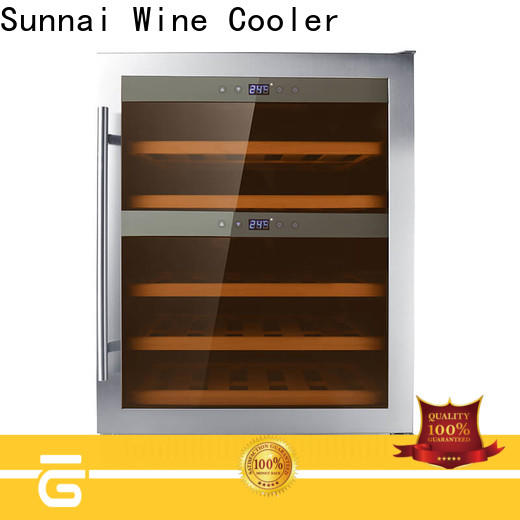 Sunnai double dual zone undercounter wine cooler manufacturer for home
