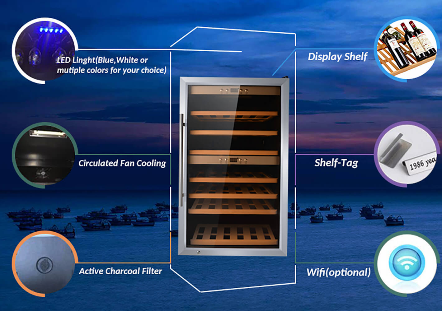 Sunnai door free standing wine refrigerator manufacturer for shop-2