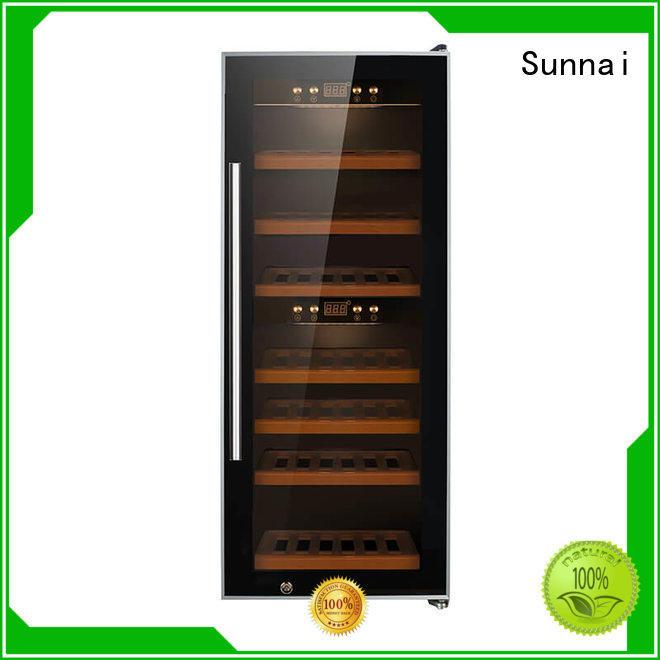 Sunnai black freestanding wine fridge dual home