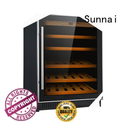 Sunnai stainless under counter dual zone wine fridge cooler for indoor