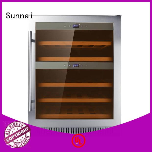 Sunnai silver under counter dual zone wine fridge manufacturer for indoor