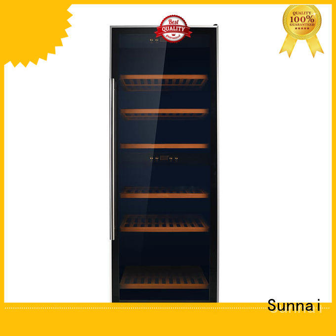 Sunnai black dual zone wine fridge refrigerator for work station