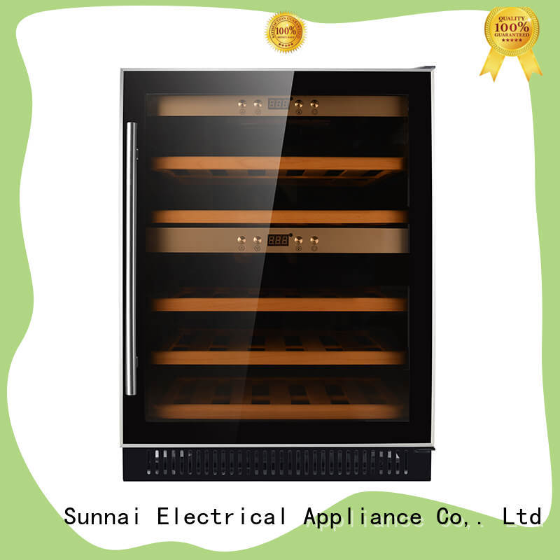 Sunnai safety under counter dual zone wine fridge series for indoor