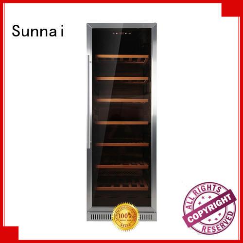 Sunnai black double doors wine cooler supplier for indoor