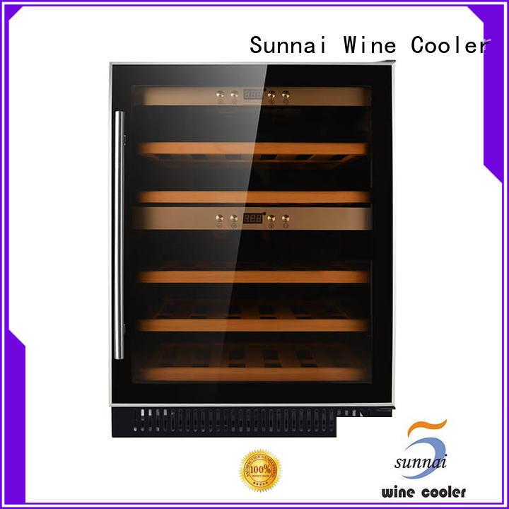 dual zone undercounter wine refrigerator steel station Sunnai
