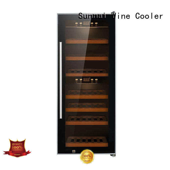 Sunnai wood dual zone freestanding wine cooler refrigerator for shop