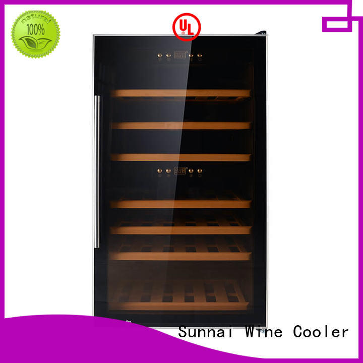 Sunnai black compressor wine cooler dual zone refrigerator for home