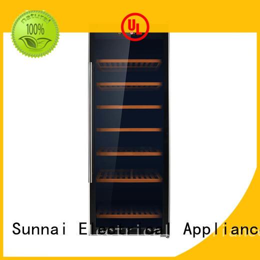 Sunnai single black wine cooler wood for work station