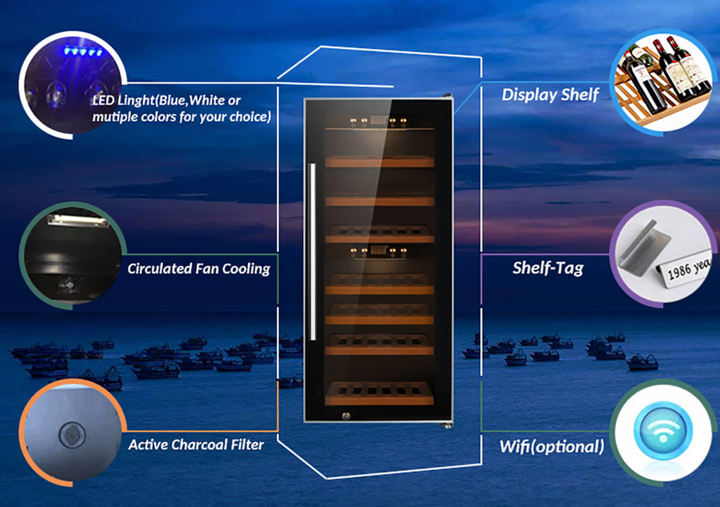 Sunnai wood dual zone freestanding wine cooler refrigerator for shop-2