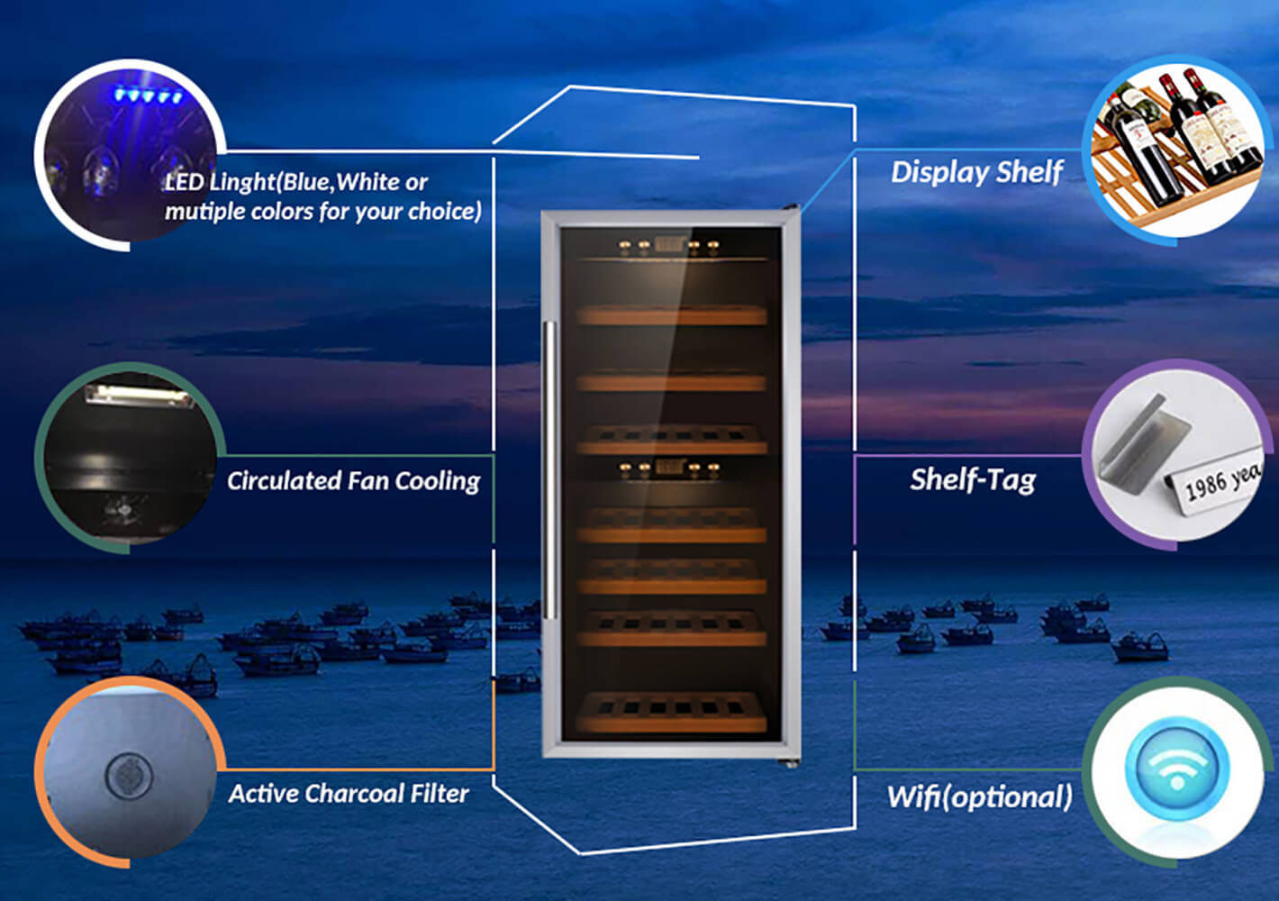 single single zone wine refrigerator shelves product for home-2