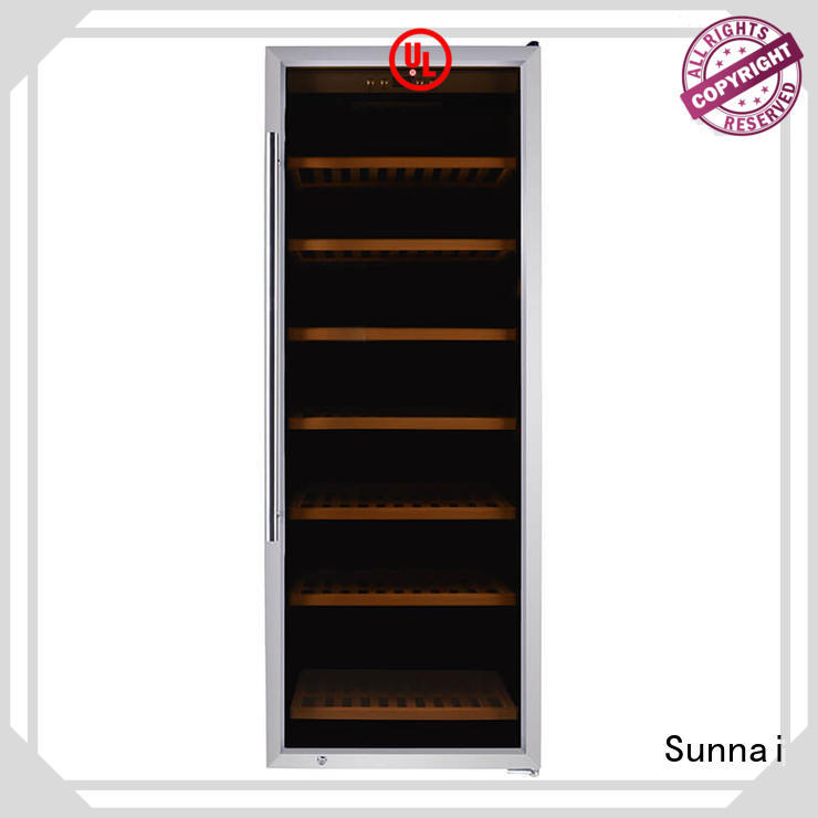 Sunnai black dual zone freestanding wine cooler product for home
