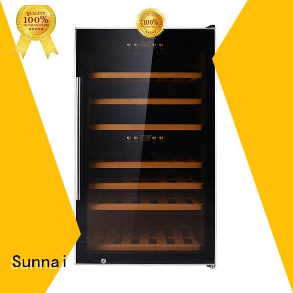 Sunnai safety compressor wine cooler dual zone manufacturer for shop