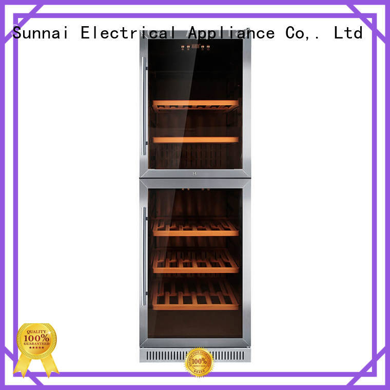 Sunnai double under counter dual zone wine fridge wholesale for shop